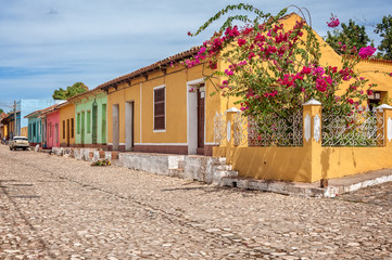 Trinidad, Cuba -March 8, 2016: Colorful houses and a small garden at the corner on a cobblestone street in Trinidad, Cuba.