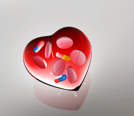 Red Glass Heart. with tablets and capsules 3d illustration
