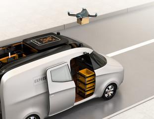 Drone taking off from van for delivering cardboard parcel. 3D rendering image.