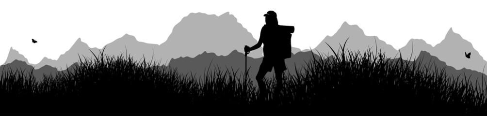 Panorama | Frau beim Wandern
