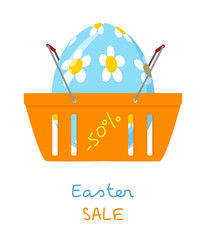 Shopping basket with Easter egg, vector