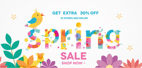 Spring Sale Banner with bird, Sale Poster, Sale Flyer, Sale Vector. 30% Off, Vector illustration.