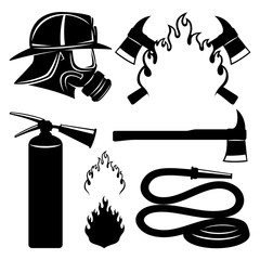 Firefighters icons set.
