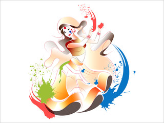 creative vector abstract or poster for Holi with nice and beautiful design illustration in a colorful background.