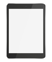 Realistic tablet pc computer with blank screen isolated on white background. 3D illustration.