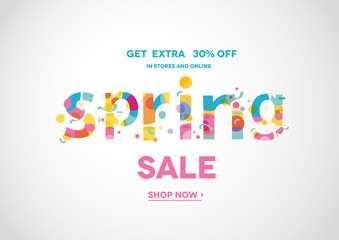 Spring Sale Banner, Sale Poster, Sale Flyer, Sale Vector. 30% Off, Vector illustration.