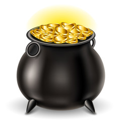 Realistic St Patrick's day cauldron full with gold coin