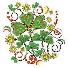 Floral ornament with flowers and leaves of shamrock in Khokhloma style in traditional colors isolated on white background. Russian folklore. Vector illustration