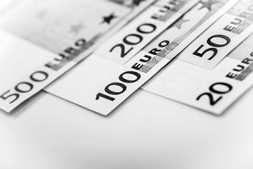 Closeup of Euro Banknotes