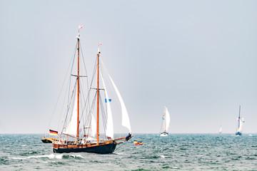 Sailing ships on the sea. Tall Ship.Yachting and Sailing travel.