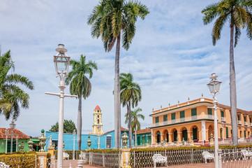 The gardens in Piaza Mayor - main Square in Trinidad, Cuba