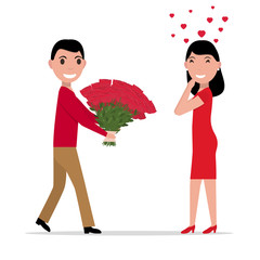 Vector cartoon man gives flowers to a woman