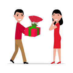 Vector cartoon man gives gift and flowers to woman