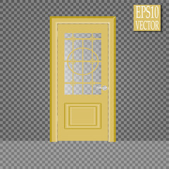 Vector closed door with frame isolated on background. Door with clear glass and Golden frame.