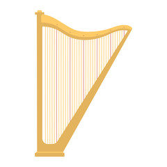 Harp icon golden stringed musical instrument classical orchestra art sound tool and acoustic symphony stringed fiddle wooden vector illustration.