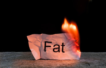 Word Fat on crumpled piece of paper burn. Concept of Burn your Fat and health care life style