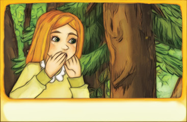 cartoon scene with young girl - child looking somewhere standing in the forest