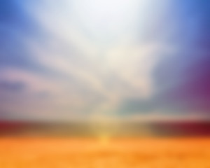 Bright landscape beach with water and sky and Out of Focus blur effect for backdrop to your design