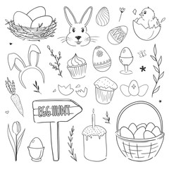 Set of vector doodles with chicken, rabbit, ornamental eggs, nest, flowers. Easter illustrations