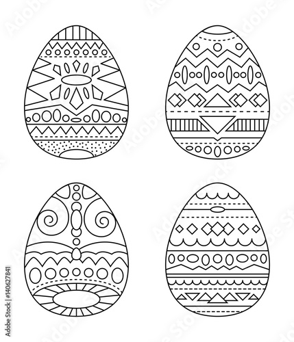 Easter eggs with tribal ornament vector coloring page. Black ...