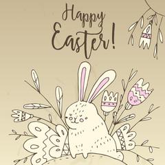 Иллюстрация с пасхальным кроликом