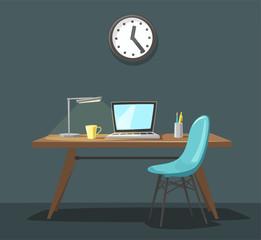 Modern workplace. Office work. Cartoon vector illustration