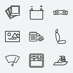 Set of 9 interface outline icons