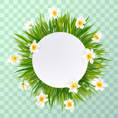 Round natural frame with grass and flowers.Vector eps10