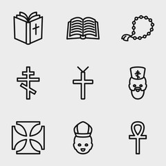 Set of 9 catholicism outline icons
