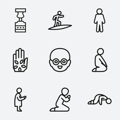 Set of 9 pictogram outline icons