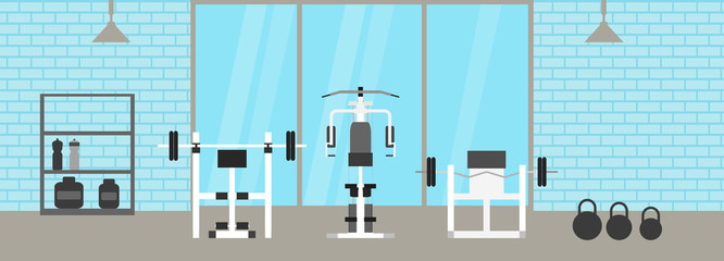 Fitness gym interior template with sports equipments and cardio equipment, exercise bike, treadmills, elliptical trainers, . Fitness concept with sport Club in flat style. Blue silhouette.