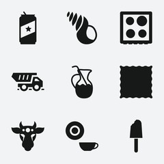 Set of 9 food filled icons