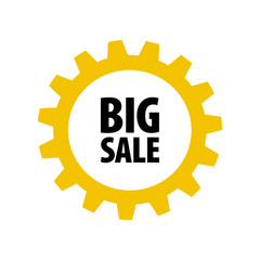 Yellow cartoon gear with words 'Big Sale' isolated on white background. Discount tag for industrial companies, car shops. Cogwheel label for parts stores. Vector design element