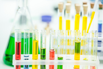 Test tubes with reagents