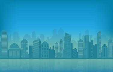 Cityscape and skyline vector illustration with blue urban buildings and silhouette.