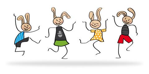 Osterhasten tanzen und hüpfen