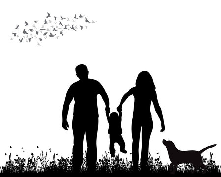 isolated, silhouette family walking on grass, playing