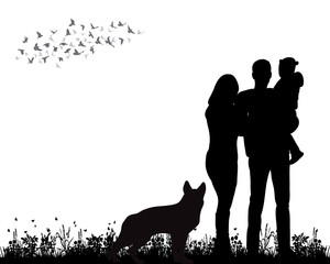 Vector, isolated, silhouette family walking with dog on the grass playing