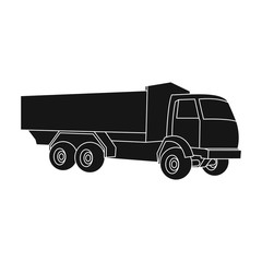 Pickup rural truck. Tow auto. Truck with orange body for the transport of agricultural crops.Agricultural Machinery single icon in black style vector symbol stock illustration.