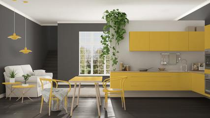 Scandinavian yellow minimalist living with kitchen, open space, one room apartment, modern interior design