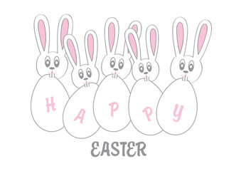 funny vector easter background with bunnies and eggs