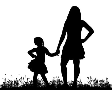 Vector, isolated, silhouette of mother and child playing in nature