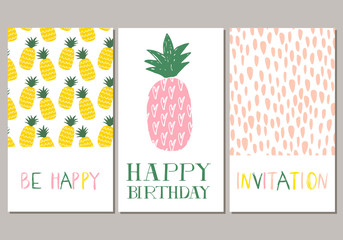 Set of pineapple cards. Invitation. Vector.