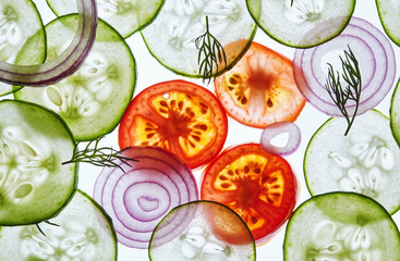 Sliced vegetables background