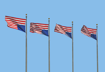 Wall Mural - Four U.S. Flags Flying