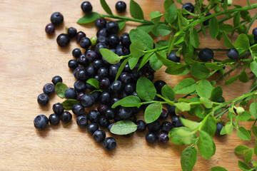 Blueberries on the table.