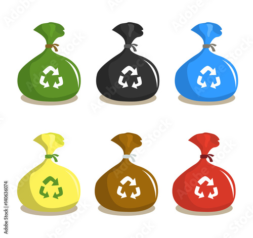 Set Of Recycle Plastic Garbage Sacks Bags For Waste Disposal And Recycling