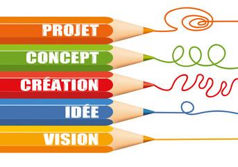 création - idée - projet - réflexion - solution - réfléchir - concept