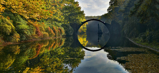 Amazing place in Germany - Rakotzbrucke also known as Devils Bridge in Kromlau. - panorama