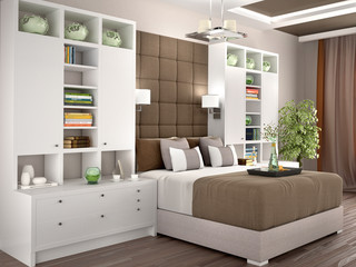 Light and cozy modern bedroom with wardrobes on the sides. 3d illustration